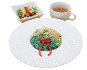 綾波レイ製パスタ(サラダ、スープ付き) 990円(税抜)