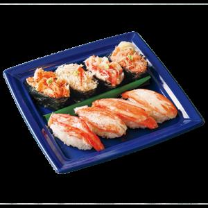 鮮度抜群、4種のかにをお寿司で食べ比べ 函館市[幸寿司] ●四大がに にぎり(タラバがに、毛がに、花咲がに、ずわいがに/1折) 2,592円 ■出店期間:9/22(水)まで